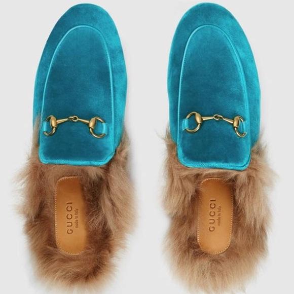 Gucci Mules En Velours Bleu Princetown - 1HUMz